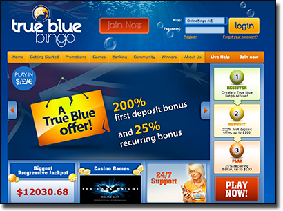 True Blue Bingo - Australian Homepage